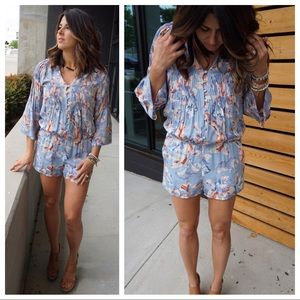 Joie S Floral 100% Silk Bell Sleeve Mani Romper